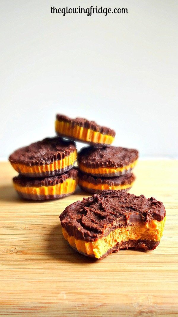 Chocolate Pumpkin Cups - vegan + gf - These treats are delectable, guilt-free, easy and oh-so-amazing! From The Glowing Fridge