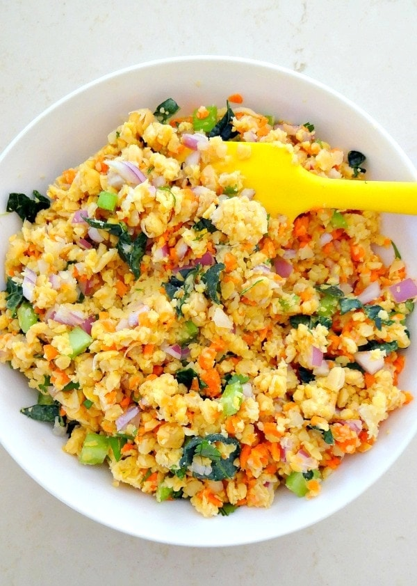 Vegan + GF - Mashed Chickpea Salad. Easy, yummy and healthy with lots of veggies (and kale!), plant protein, fiber, flavor and vibrant crunch! From The Glowing Fridge