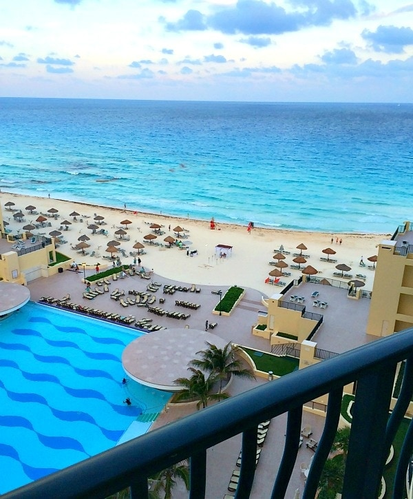 balcony view from The Royal Sands Resort in Cancun, Mexico