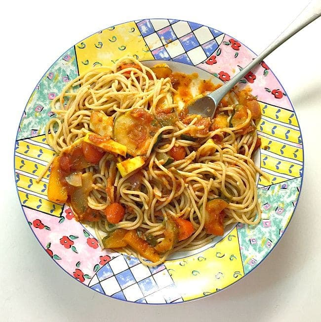 Fresh Oil-Free Veggie Pasta - What I Ate