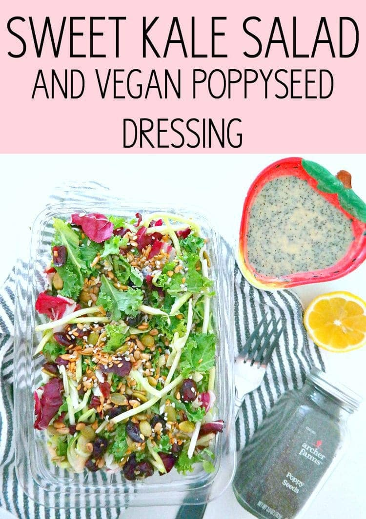Sweet Kale Salad and Vegan Poppyseed Dressing - with a mix of kale, broccoli, brussels sprouts and lots of superfood seeds as well as a super simple vegan poppyseed dressing! From The Glowing Fridge.
