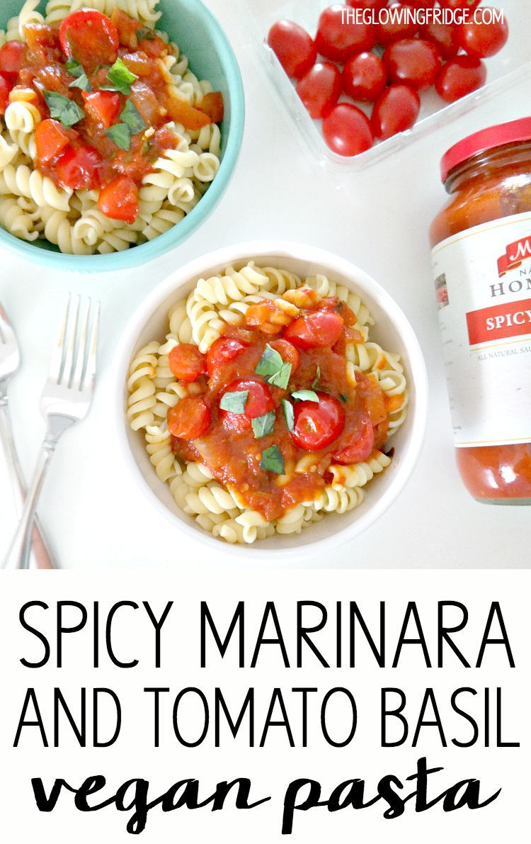 Spicy Marinara & Tomato Basil Pasta - a healthy, zesty and savory vegan pasta dish, ready in 30 minutes! With fresh ingredients you can feel good about. Use up those end-of-summer tomatoes! From The Glowing Fridge.