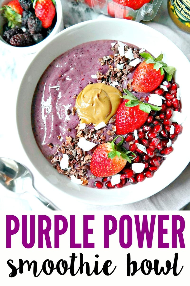 Dairy-free and Vegan 'Purple Power Smoothie Bowl' - loaded with antioxidants, omegas and fiber to keep you nourished and full. Decadently healthy with nut butter, cacao nibs, fresh fruit and superfoods, this is one powerful breakfast bowl! From The Glowing Fridge. #power #smoothie #bowl #vegan