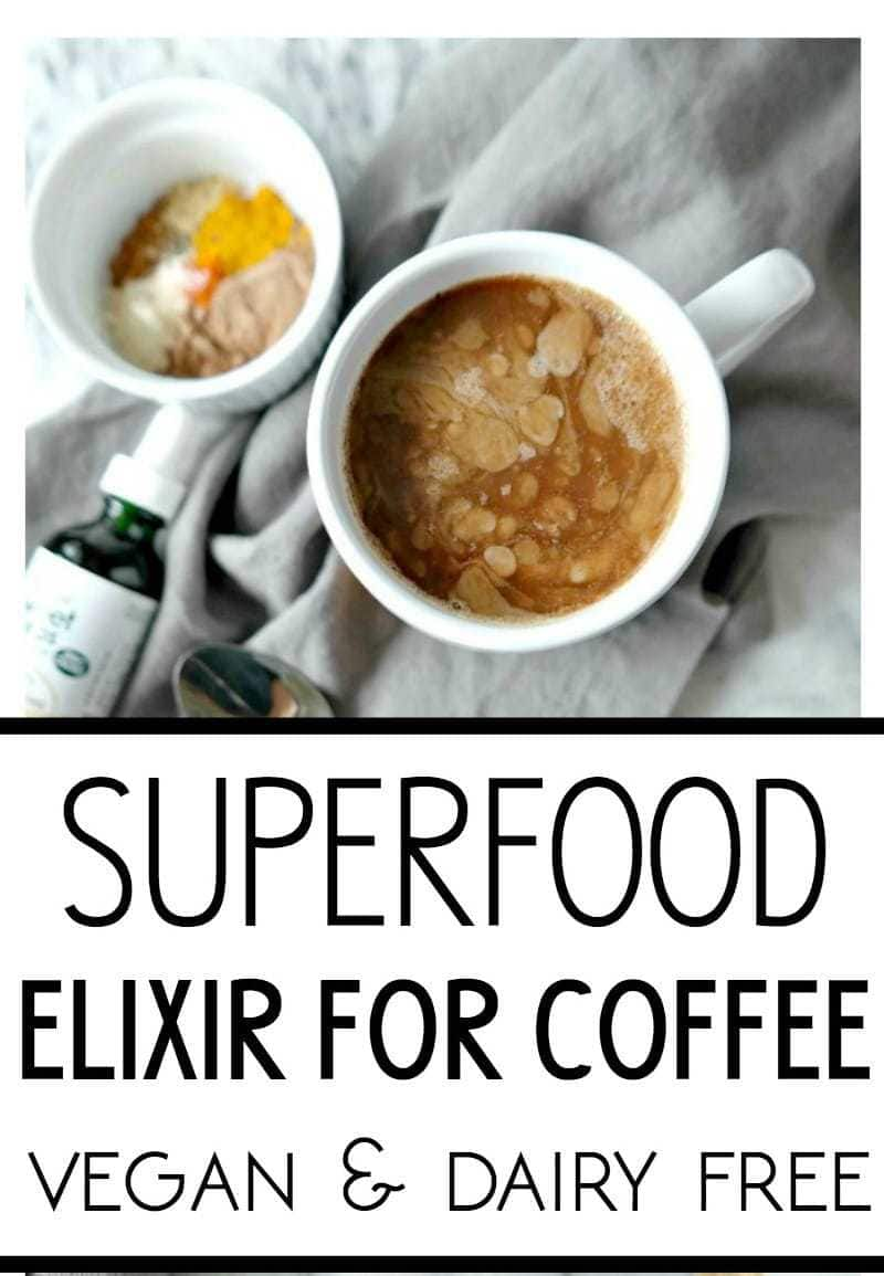 Superfood Elixir For Coffee - VEGAN & DAIRY FREE. An energizing blend of nutrient-dense superfoods and spices to amp up your morning coffee. From The Glowing Fridge #superfood #coffee #elixir #vegan