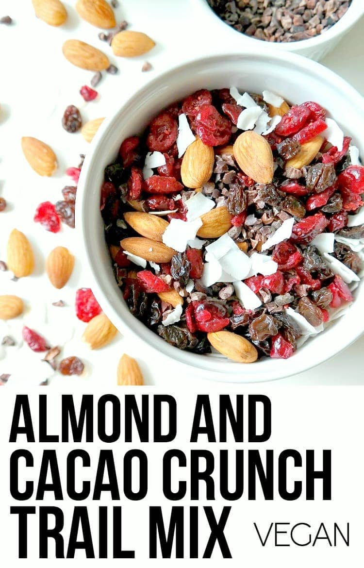 Almond Cacao Crunch Trail Mix - VEGAN. Perfect for light snacking, as a smoothie bowl topping or to throw in a salad for extra crunch. With hints of chocolate, tropical flaked coconut and tartness from cranberries, this mix is satisfying taste and texture wise. YUM! From The Glowing Fridge.