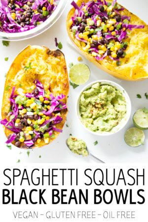 Spaghetti Squash Black Bean Bowls. Get your chipotle bowl fix with these crazy healthy, crazy good roasted spaghetti squash bowls. Vegan, gluten free, and oil free! Totally satisfying, yet light and filling at the same time! #spaghetti #squash #vegan #chipotle #bowls