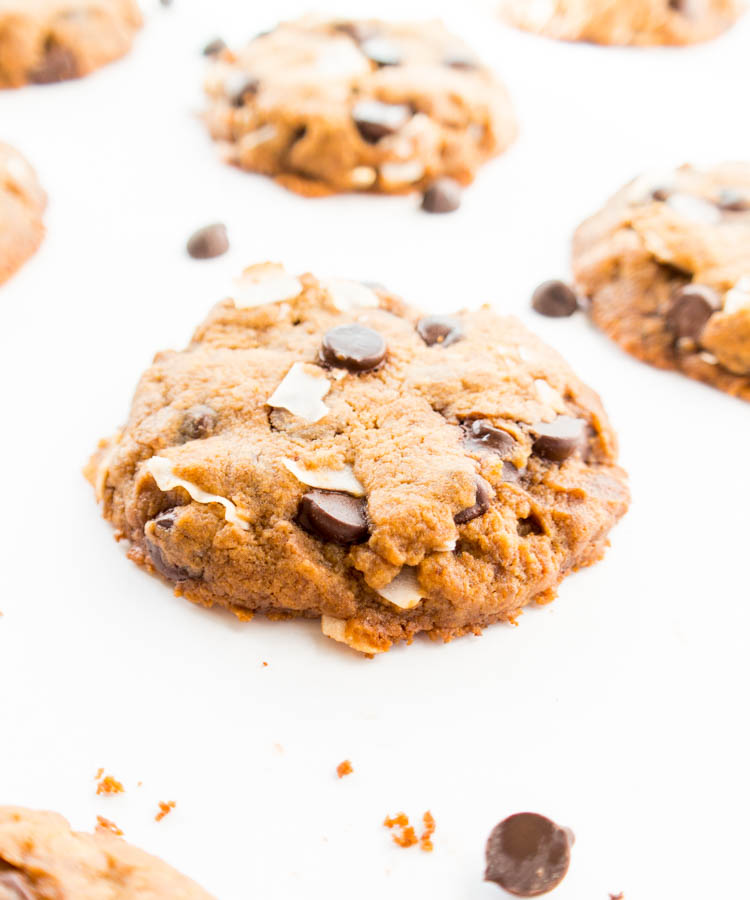 Vegan Chocolate Chip Coconut Cookies made with coconut oil. Gluten Free option. Golden and crispy on the outside while soft & chewy on the inside. The BEST vegan cookie, and ready in under 25 minutes!
