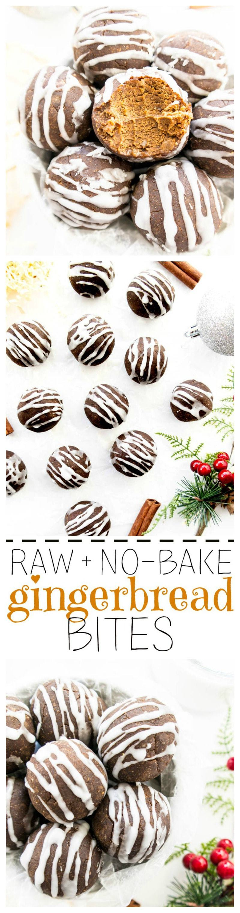 Raw Gingerbread No Bake Bites. Vegan, Gluten Free, Oil Free. Healthier sweet gingerbread treats with white icing and lots of gingerbread flavor. No equipment needed! Higher protein option too. #vegan #protein #balls #bites