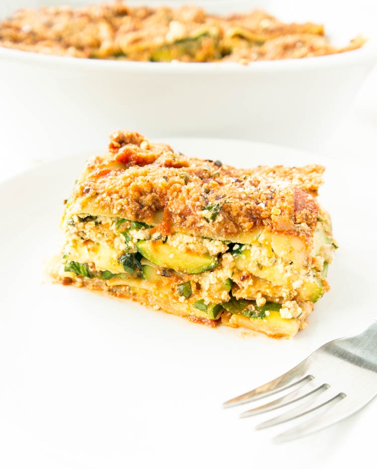"The BEST 'Vegan Tofu Ricotta Lasagna' so healthy. yet tastes like the real deal. Hearty, easy to make, packed with veggies + an unbelievable ""tofu ricotta"" filling. Plant based comfort food! #vegan #lasagna #zucchini #tofu"