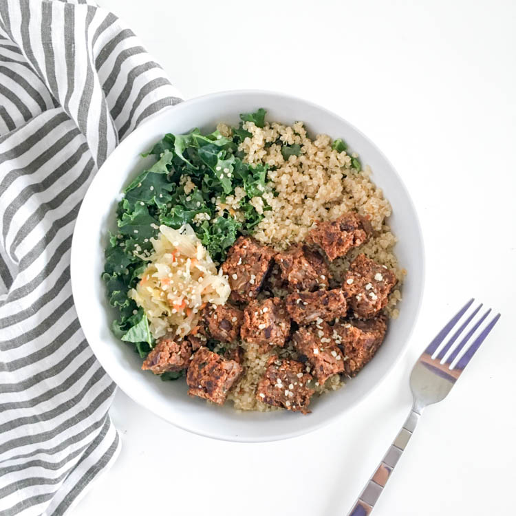 Kale Quinoa Bowl with Veggie Burger