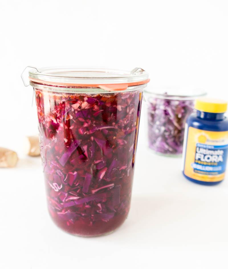 Spicy Probiotic Beet and Red Cabbage Kraut. Vegan