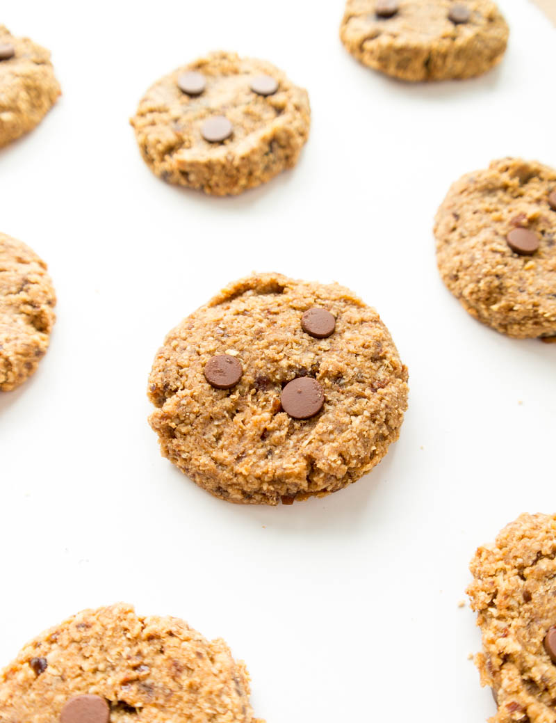 Easy Vegan Almond Butter Chewy Cookies. Gluten Free option! Simple & quick. All you need is a food processor; no hand mixing necessary. Healthier with whole food ingredients and naturally sweetened with dates. Any nut butter can be used! #vegan #almondbutter #cookie