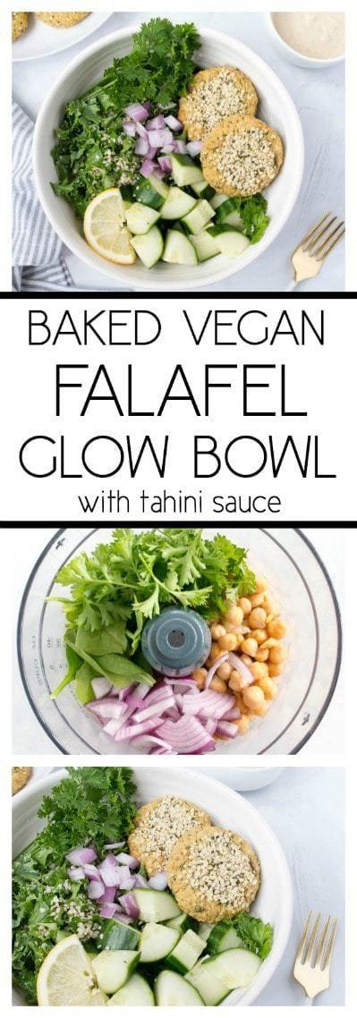 Baked Vegan Falafel Glow Bowl. Vegan, Gluten Free. Super simple and flavorful! #vegan #falafel #baked #plantbased #glutenfree #glowbowl