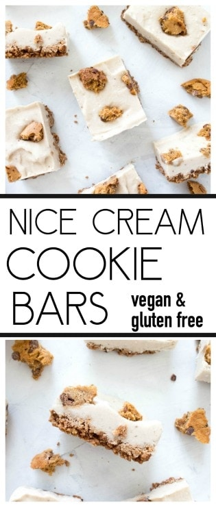 Nice Cream Cookie Bars. Vegan, Gluten Free, Dairy Free. Made with a chocolate chip protein cookie base, then layered with the creamiest banana nice cream. They make for a dreamy summer treat! #vegan #glutenfree #nicecream #cookiebars