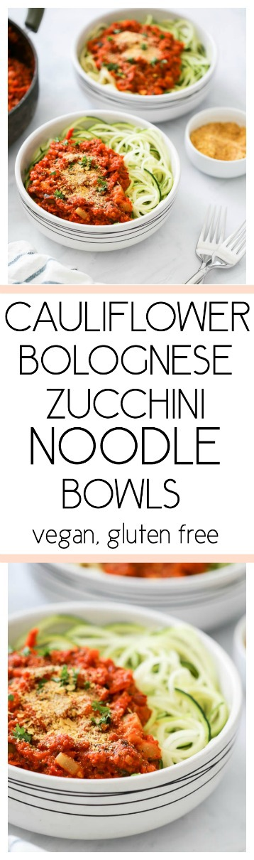 Cauliflower Bolognese Zucchini Noodle Bowls. Vegan, Gluten Free. Veggie-packed, delicious and ready in 30 minutes! #vegan #bolognese #cauliflower #zoodles