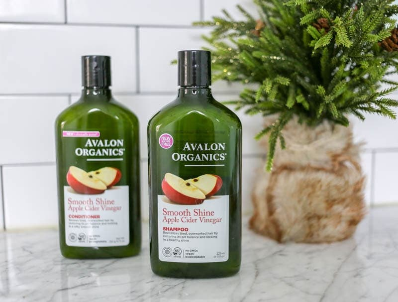 Winter Prep Hair Care Routine. Vegan. Avalon Organics Smooth Shine Apple Cider Vinegar Shampoo and Conditioner.
