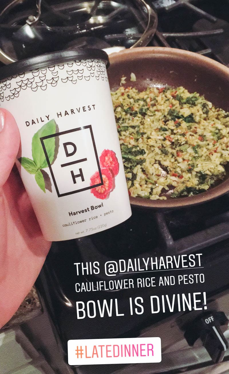 My Real Thoughts About Daily Harvest. Cauliflower Rice + Pesto. An honest review of the vegan, pre-made smoothies, harvest bowls, soups and lattes from their delivery service. #vegan #DailyHarvest #freezergoals