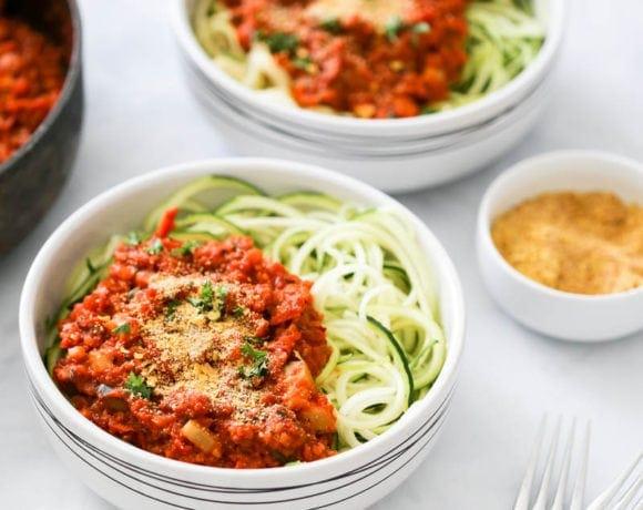 Cauliflower Bolognese Zucchini Noodle Bowls