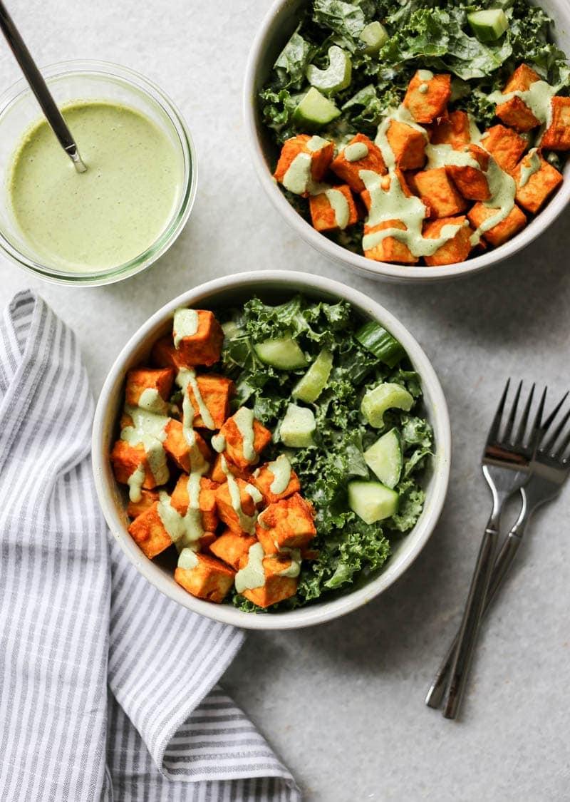 Crispy Buffalo Tofu And Kale Salad With Vegan Ranch The Glowing Fridge
