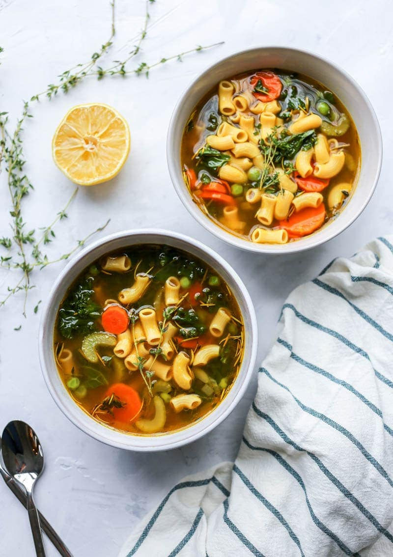 Healing Chickpea Noodle Soup. Vegan, Gluten Free, High Protein. A restorative, simple, nourishing soup for fall or winter with cleansing veggies and herbs, and lots of lemon! #vegan #soup #healing #chickpea #noodle