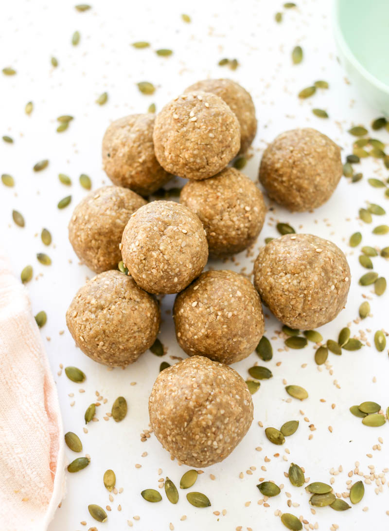 Seed Cycling Energy Balls for Hormone Balance. Vegan and Gluten Free snack bites. #seedcycling #energyballs #snackballs #hormonebalance