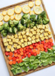 Sheet Pan Veggie Bake Dinner. Simple, quick and easy! Vegan and gluten free. Tofu and veggies with anti-inflammatory spices.