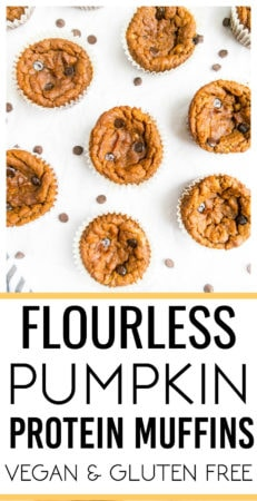 Flourless Pumpkin Protein Muffins. Vegan and Gluten Free! Delicious, one bowl pumpkin muffins, ready in 35 minutes! #vegan #pumpkin #protein #muffins