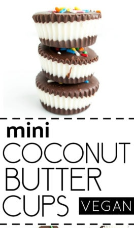 Two Ingredient Mini Coconut Butter Cups. Vegan, Gluten Free and Allergy Friendly treats. Perfect for sweet, mini bites of chocolate & coconut fluff heaven! #vegan #chocolate