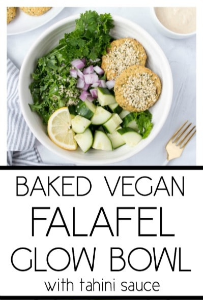 Baked Vegan Falafel Glow Bowl. Vegan, Gluten Free. Super simple and flavorful! #vegan #falafel #baked #plantbased #glutenfree #glowbowl