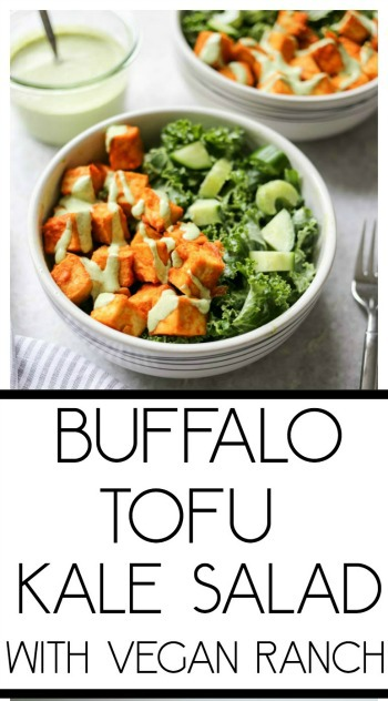 Crispy Buffalo Tofu and Kale Salad with Vegan Ranch. The most scrumptious baked buffalo tofu with the creamiest, dreamiest homemade vegan ranch dressing! #vegan #buffalo #tofu #ranch #dressing #kale