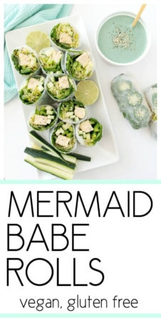 Mermaid Babe Rolls. Vegan and gluten free summer rolls that are light and fresh but also filling! Packed with leafy greens, crunchy veggies and protein-rich tempeh for a nourishing, bikini-friendly meal. Alongside a mint-colored Mermaid Miso Dipping Sauce! From The Glowing Fridge. #vegan #plantbased #mermaidrolls #springrolls