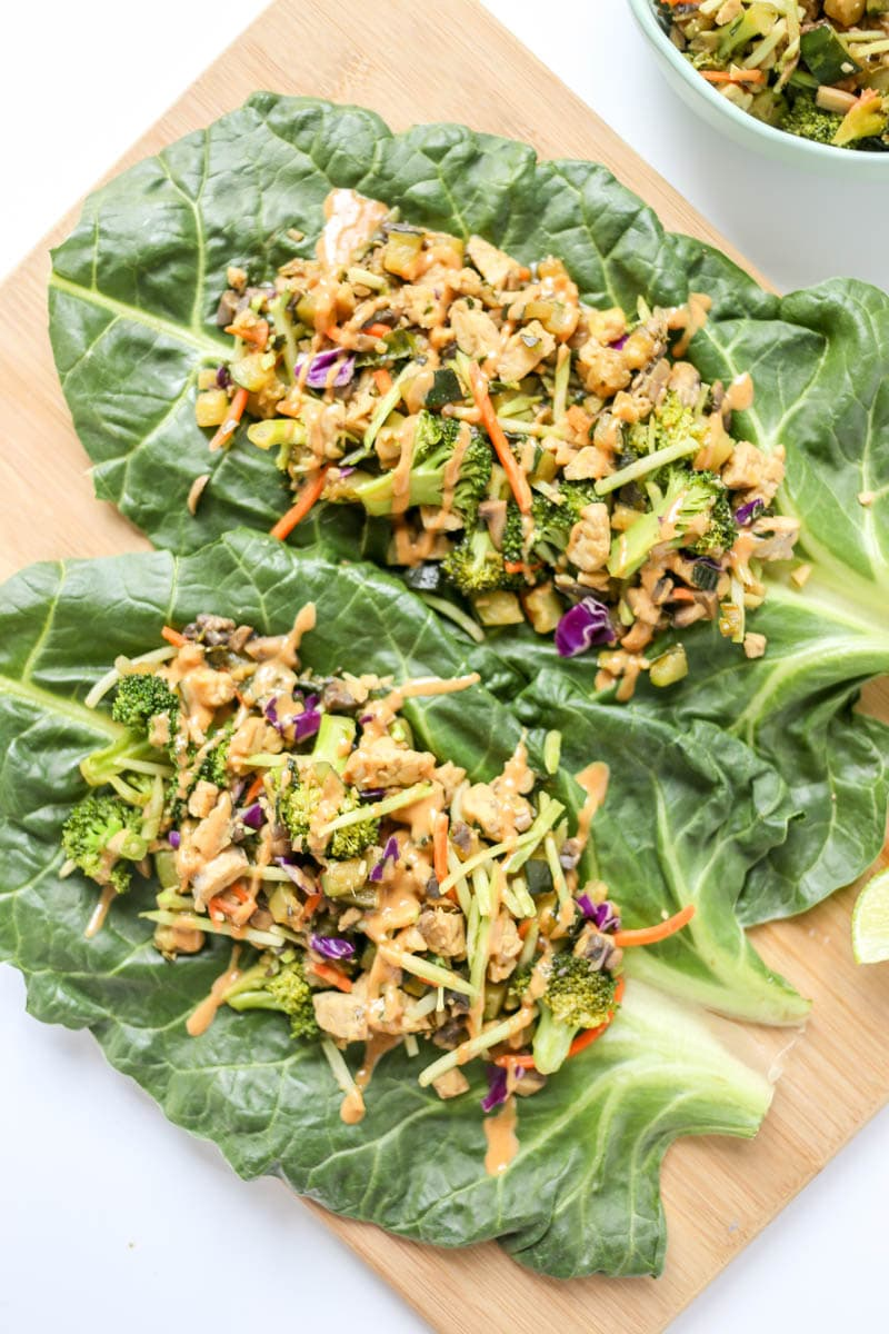 Easy Thai Ginger Collard Green Wraps. Luscious and green plant based vegan collard green wraps with thai-infused flavors like fresh basil and ginger.