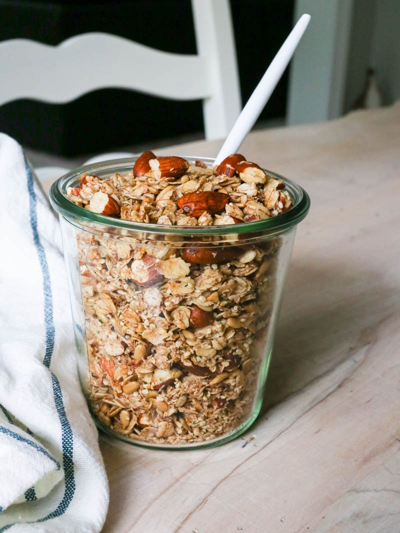 Sugar-Free Cinnamon Crunch Granola. Vegan and Gluten Free. Sweetened with stevia and cinnamon. Made with oats, coconut oil and nuts for crunch!