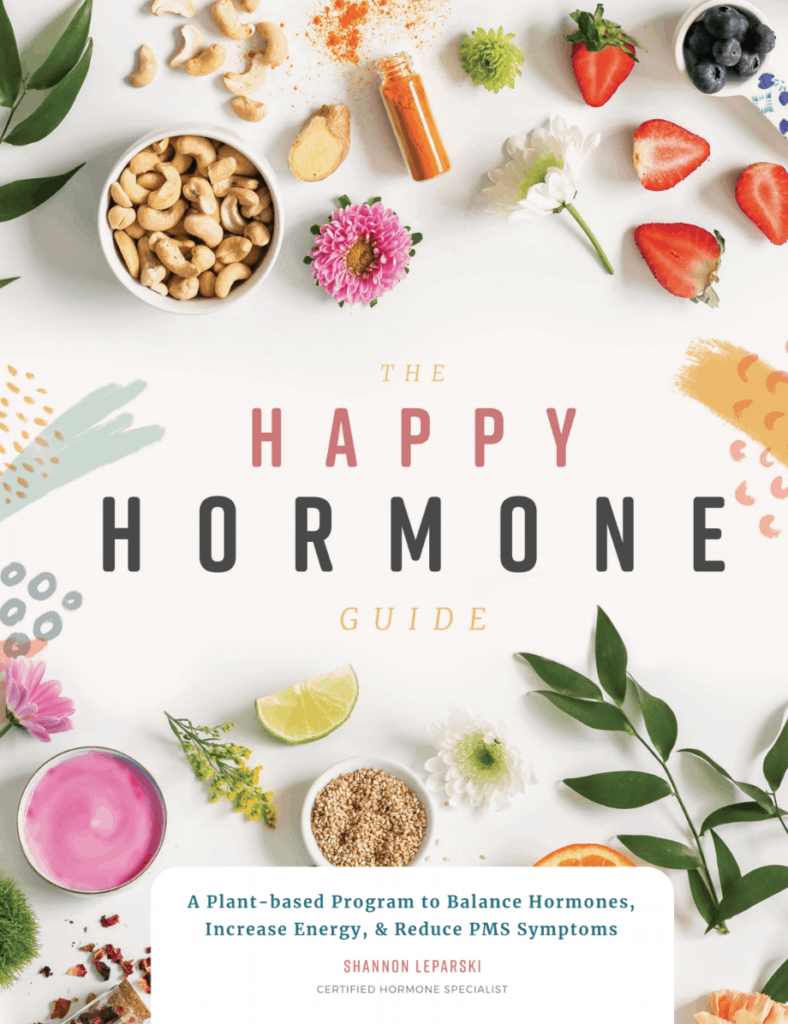 The Happy Hormone Guide. The first ever plant-based vegan guide for balancing hormones, increasing energy and reducing PMS symptoms. With recipes and lifestyle tips for each phase of your menstrual cycle. #cyclesycning