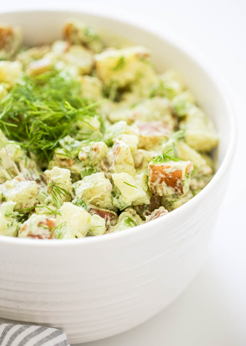 Vegan Ranch Potato Salad. Creamy, luscious and deliciously simple. Made with dairy-free ranch and crunchy vegetables. Perfect for a vegan summer side dish!