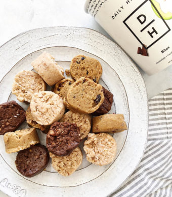 Daily Harvest Bites review. Made with adaptogens! Chocolate Hazelnut, Lemon Coconut and Cacao Nib Vanilla flavors. For a snack or after dinner treat!