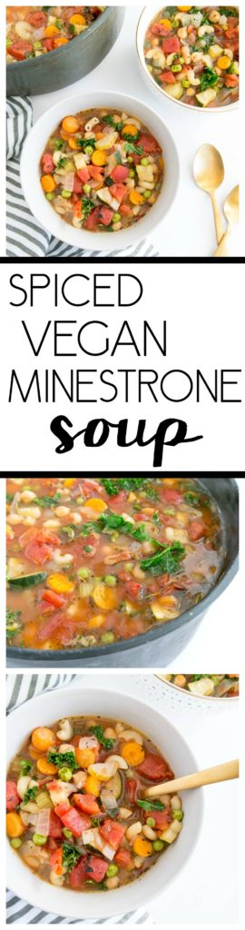 Spiced Vegan Minestrone Soup. Brothy, herby and packed with bright flavor. This warming & comforting soup feels healing and cozy, and comes together quickly! #vegan #minestrone #soup #winter