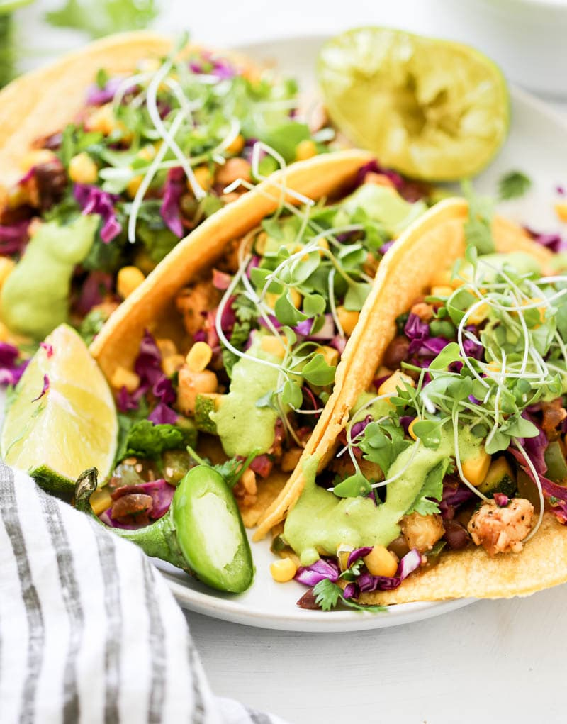 Tequila Lime Vegan Tacos. Plant based, simply delicious, gluten free tequila-infused tacos. Fresh veggies, herbs and spices with black beans and tempeh! #mexican #tequila #tacos #vegan