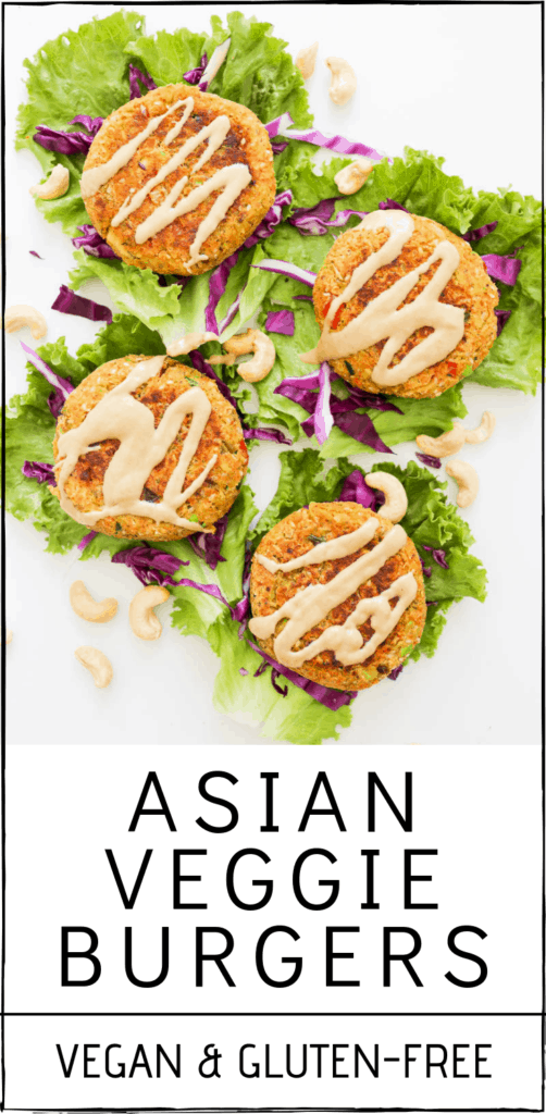 Deliciously hearty Asian Veggie Burgers (Vegan and Gluten-Free). Asian-inspired fresh flavors like ginger, garlic and tamari, along with edamame and veggies. #asian #veggie #burger