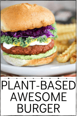 Sweet Earth Foods Plant-Based Awesome Burger. juicy, meaty deliciousness of a traditional burger with plant-based nutrition, the Awesome Burger provides an excellent source of 26g of protein, 6g of fiber and spot-on flavor. #AwesomeForAll