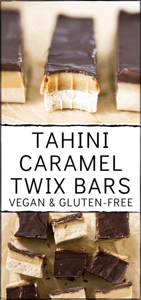 Tahini Caramel Twix Bars (Vegan and Gluten Free). One bowl, no food processor required and date-free. Gooey tahini caramel and decadent chocolate. Perfect homemade treat for Halloween! #vegan #twix #candybar #halloween
