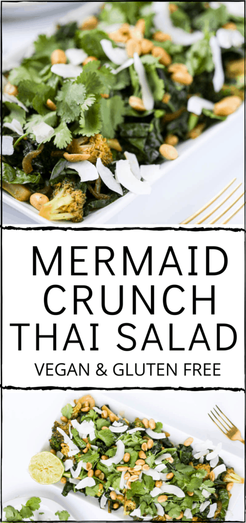 Mermaid Crunch Thai Salad. Vegan and Gluten Free. Menstrual Phase Salad. Crunchy with broccoli, bok choy, kale, coconut, peanuts and thai flavors. #mermaid #salad #warm